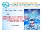 Tiểu luận: Đánh giá chất lượng hoạt động kinh doanh của công ty Pepsi Việt Nam
