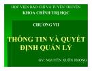 Bài giảng Khoa học quản lý: Chương 7 - Nguyễn Xuân Phong
