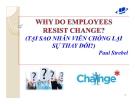 Tiểu luận: Tại sao nhân viên chống lại sự thay đổi?
