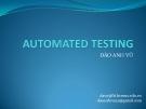 Bài giảng Automated testing - Đào Anh Vũ