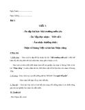 Giáo án Âm nhạc 7 bài 1: ANTT: Nhạc sĩ Hoàng Việt và bài hát Nhạc rừng