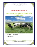 Báo cáo dự án đầu tư: Trang trại chăn nuôi bò sữa và bò thịt
