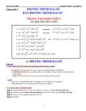 Chuyên đề LTĐH: Chuyên đề 1 - Phương trình đại số, bất phương trình đại số