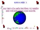Bài 64: Vai trò của MT tự nhiên đối với ĐS con người - Bài giảng điện tử Khoa học 5 - T.B.Minh