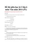 Đề thi kiểm tra giữa học kì II môn Văn học lớp 6 năm học 2014 - Đề số 1