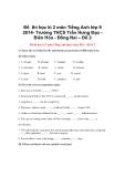 Đề thi học kì 2 môn Tiếng Anh lớp 9 2014- Trường THCS Trần Hưng Đạo Biên Hòa - Đồng Nai – Đề 2