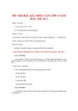 Đề thi kiểm tra học kì II môn Văn học lớp 6 năm học 2014 - Đề số 1