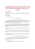 Đề thi học kì 2 môn Văn lớp 10 năm 2014 - THPT Trần Ngọc Hoằng - Cần Thơ
