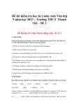 Đề thi kiểm tra học kì I môn Anh Văn lớp 9 năm học 2013 – Trường THCS Thanh Oai – Đề 3