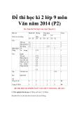 Đề thi học kì 2 lớp 9 môn Văn năm 2014 - Đề 3