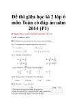 Đề thi giữa học kì 2 lớp 6 môn Toán có đáp án năm 2014 - Đề 1