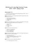 Đề thi học kì 2 môn Ngữ Văn lớp 10 năm 2014 - THPT Quảng Trạch