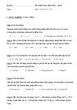 Đề thi kiểm tra học kì I môn Vật lý lớp 10 năm học 2011 - 2012 - Chương trình cơ bản