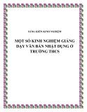 SKKN: Một  số kinh nghiệm trong giảng dạy văn bản Nhật dụng ở trường THCS