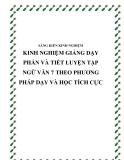 SKKN: Kinh nghiệm giảng dạy phần và tiết luyện tập Ngữ văn 7 theo phương pháp dạy và học tích cực