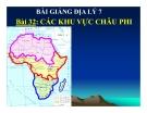 Bài giảng Địa lý 7 bài 32: Các khu vực châu Phi