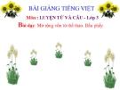 Bài giảng Tiếng Việt 3 tuần 29 bài: Luyện từ và câu - Mở rộng vốn từ: Thể thao. Dấu phẩy