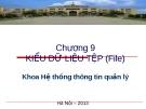 Bài giảng Cơ sở lập trình - Chương 9: Kiểu dữ liệu tệp (File)