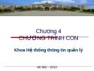 Bài giảng Cơ sở lập trình - Chương 4: Chương trình con