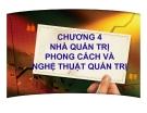 Bài giảng Quản trị kinh doanh: Chương 4 - PGS.TS. Trần Việt Lâm