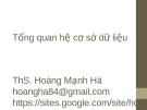 Bài giảng Quản trị cơ sở dữ liệu: Chương 2 - ThS. Hoàng Mạnh Hải