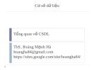 Bài giảng Cơ sở dữ liệu: Chương 1 - ThS. Hoàng Mạnh Hà