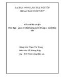 Bài thảo luận môn học: Quản lý chất lượng nước trong ao nuôi thủy sản