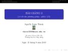 Bài giảng Phương pháp phần tử hữu hạn: Bài giảng 2 - GV. Lê Xuân Thành