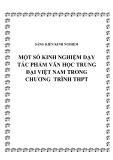 SKKN: Một số kinh nghiệm dạy tác phẩm Văn học trung đại Việt Nam trong chương  trình THPT