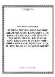 SKKN: Sử dụng phương pháp dạy học khám phá nhằm lồng ghép kiến thức giáo dục giới tính trong tiết 50 - bài 47 sách giáo khoa Sinh học 11 nâng cao: Điều khiển sinh sản ở động vật -  mục II: Sinh đẻ có kế hoạch ở người