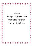 Bài văn mẫu: Nghị luận bài thơ Thương vợ của Trần Tế Xương