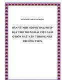 SKKN: Bàn về  một số phương pháp giảng dạy thơ trung đại Việt Nam ở môn Ngữ Văn 7 trong nhà trường THCS
