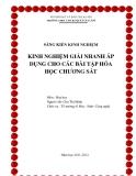 SKKN: Kinh nghiệm giải nhanh áp dụng cho các bài tập Hóa học chương Sắt