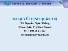 Bài giảng Ra quyết định quản trị: Chương 2 - TS. Nguyễn Ngọc Thắng