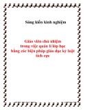 SKKN: Giáo viên chủ nhiệm trong việc quản lí lớp học bằng các biện pháp giáo dục kỷ luật tích cực