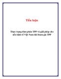 Tiểu luận: Thực trạng đàm phán TPP và giải pháp cho nền kinh tế Việt Nam khi tham gia TPP