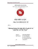 Tiểu luận: Khủng hoảng tài chính tiền tệ quốc tế và cảnh báo với Việt Nam