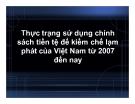 Tiểu luận: Thực trạng sử dụng chính sách tiền tệ để kiềm chế lạm phát của Việt Nam từ 2007 đến nay