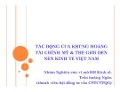 Tiểu luận: Tác động của khủng hoảng tài chính Mỹ & thế giới đến nền kinh tế Việt Nam