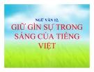 Bài giảng Ngữ văn 12 tuần 2 bài: Giữ gìn trong sáng Tiếng Việt