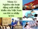Bài thuyết trình: Nghiên cứu hoạt động xuất nhập khẩu của Việt Nam sau khi gia nhập WTO