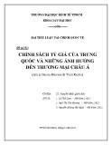 Tiểu luận: Chính sách tỷ giá của Trung Quốc và những ảnh hưởng đến thương mại châu Á