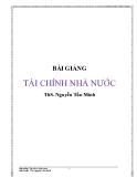 Bài giảng Tài chính nhà nước - ThS. Nguyễn Tấn Minh