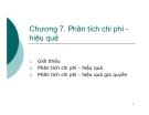 Bài giảng Phân tích kinh tế dự án: Chương 7 - GV. Phạm Lê Thông
