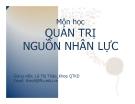 Bài giảng Quản trị nguồn nhân lực: Chương 1 - GV. Lê Thị Thảo, Khoa QTKD