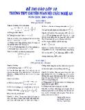 Đề thi vào lớp 10 môn Toán - Trường THPT Chuyên Phan Bội Châu - Nghệ An