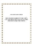 SKKN: Một số kinh nghiệm về việc chữa các lỗi trong bài làm văn của học sinh trung học phổ thông