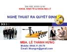 Bài giảng Quản trị học: Chương 9 - MBA Lê Thành Hưng