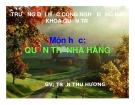 Bài giảng môn Quản trị nhà hàng: Bài mở đầu - GV. Trần Thu Hương