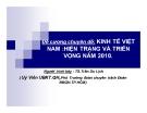 Đề cương chuyên đề: Kinh tế Việt Nam: hiện trạng và triển vọng năm 2010 - TS.Trần Du Lịch